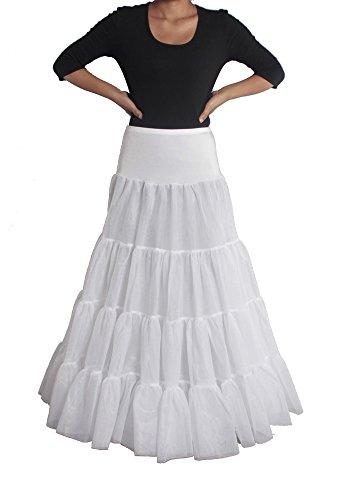 XYX Reifrock Petticoat Unterrock petticoat kleid 50er Hochzeit Reifrock Petticoat krinoline hoopless Brautpetticoat Frauen-Hochzeits PetticoatUnderskirt Schlupf Krinoline WEISS XS-M