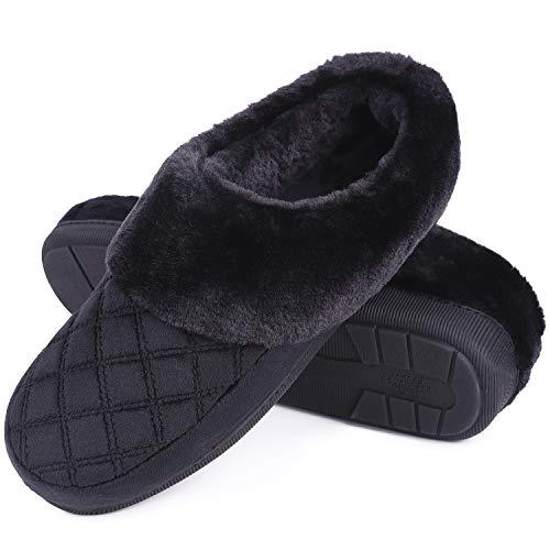 LongBay Women's Memory Foam Slippers Clog Slip On Anti-Skid Sole Indoor Outdoor Shoes w/Fur Collar