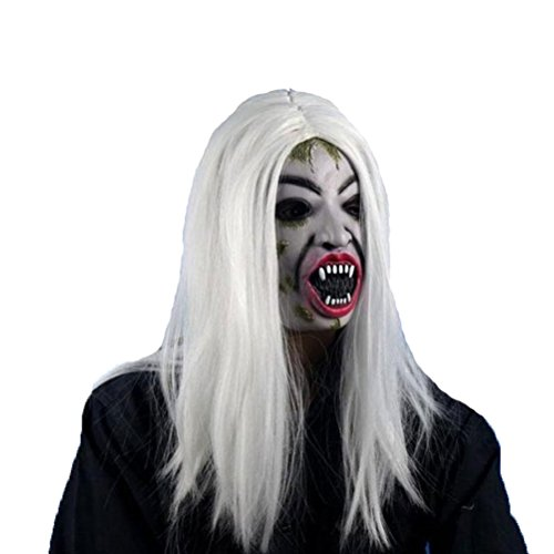 LUOEM Halloween Party Mask Long Wig Hair Grudge Sadako Ghost Wig Creepy Scary Halloween Cosplay Costume Mask for Adults Halloween Party Supply (White)]()