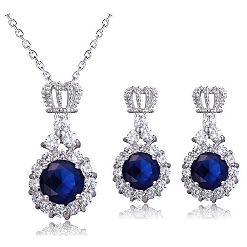 AILUOR Crown Sapphire Jewelry Set, Fashion Wedding Bridal Silver Swarovski Elements Blue Crystal Gemstone Pendant Necklace and Stud Earrings Set for Women Girl (Blue)