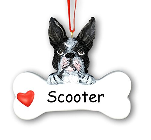 - Personalized Boston Terrier Dog and Bone with Heart Christmas Ornament with Name - 3.25 inches