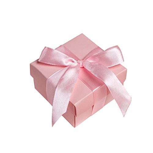 Marry Acting 10pcs Party Wedding Favors Bag + 10pcs Silk Ribbon, Mini Small Square Turquoise Candy Box with Lids for Wedding Supply, Birthdays, Bridal and Baby Showers (2.5