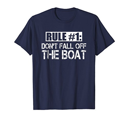 Mens Funny Cruise T Shirt Rule  1 Dont Fall Off The Boat Tee Medium Navy