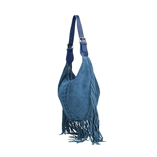 Chicca Borse echtes Leder Schultertasche 40x27x7 Cm Blau VERI19c6