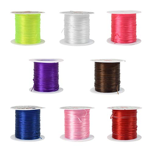 ZIIYAN 8 Rolls Flat Shape Elastic Stretch Polyester Crystal String Cord for Jewelry Making Bracelet Beading Thread, 8 Colors, 10m/ Roll ()
