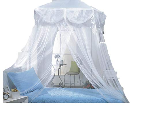 Four Corner Rectangle Princess Bed Canopy by Sid (White)