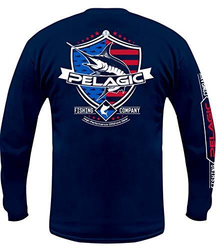 Pelagic Men's Patriot Marlin Long Sleeve Tee Shirt | 100% Ringspun Cotton | Softhand Screenprint T-Shirt Navy
