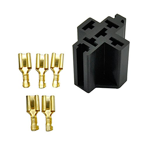 - E-TING 5x 5 Pin Relay Socket Connector 12V 30Amp 40Amp 6.3mm Car Truck Vehicle Terminal Case