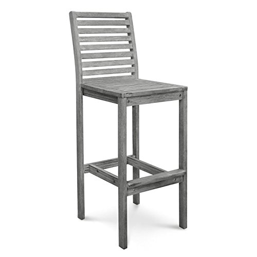 Vifah V1354 Renaissance Outdoor Hand-Scraped Hardwood Bar Chair (Outdoor Wood Bar)