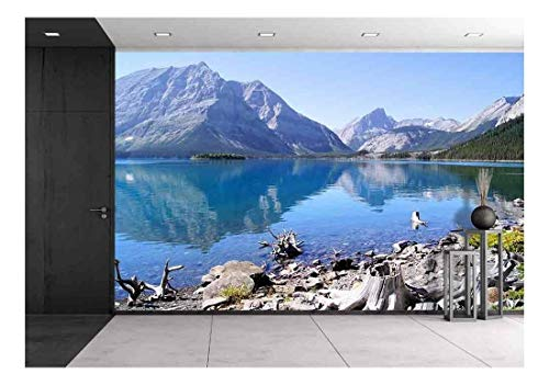 wall26 - View of The Kananaskis Lakes in The Canadian Rockies with Mountain Reflecting in Cool Blue Waters - Removable Wall Mural | Self-Adhesive Large Wallpaper - 100x144 inches