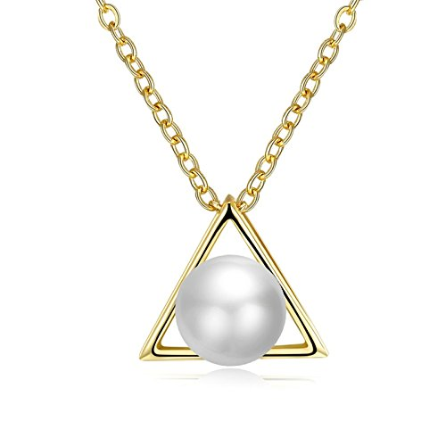 ANAZOZ Women Jewelry, Rose Gold Plated Created Pearl Triangle Women Pendant Necklaces