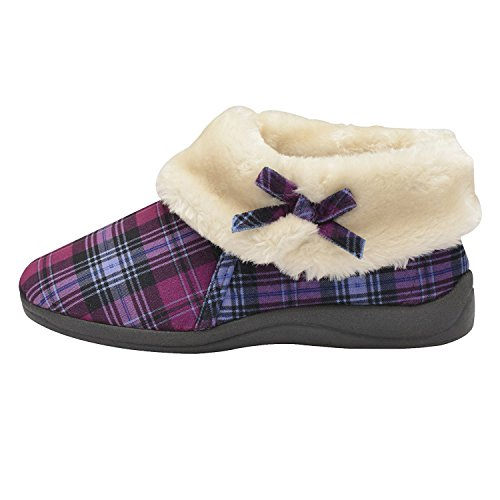 Dunlop Womens Bessie Faux Fur Collared Ankle Slipper Boots (5, Purple Check)