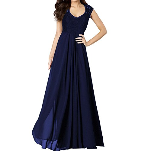 Sue&Joe Women's Chiffon Bridesmaid Dress Lace V-neck Sleeveless Vintage Maxi Dress, Navy Blue, TagsizeXL=USsize12-14