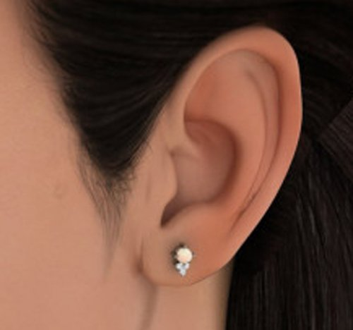 14 K Or blanc 0.09 CT TW White-diamond (IJ | SI) et pêche Perle Boucles d'oreille à tige