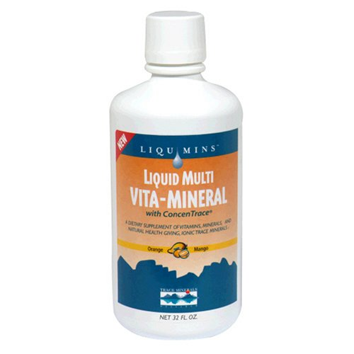 Liqumins Liquid Multi Vita-Mineral avec ConcenTrace, Mango Orange, Packginag May Vary, 32-Ounce Bottle