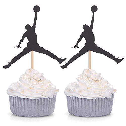 24 Counts Jumpman Cupcake Toppers Kids' Birthday Baby Shower Party Picks - Black