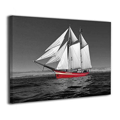 AONDD Canvas Print Wall Art Painting, Black and White Red Sailboat, Modern Artwork Decor, Wood Inside Framed Oil Painting, Ready to Hang for Home Living Room Bedroom Bathroom Office 20x16 Inch (Colorful Paintings Sailboat)