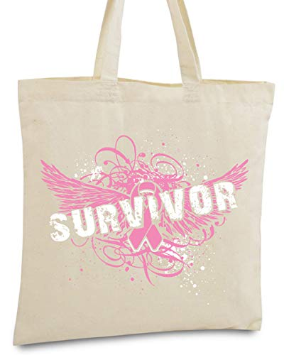 Awkward Styles Breast Cancer Survivor Tote Bag Cancer Awareness Shopping Bag Natural One Size (Breast Cancer Awareness Canvas Tote)