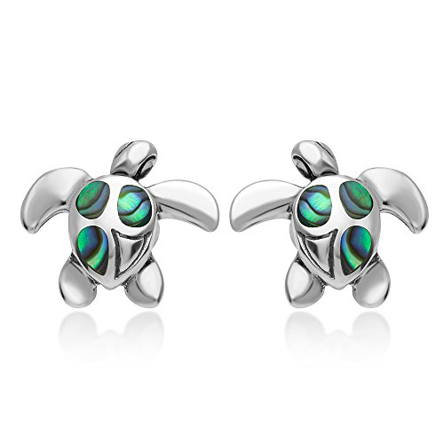 925 Sterling Silver Natural Green Abalone Shell Inlay Sea Turtle Post Stud Earrings 12 mm - Green Stud Earring Box