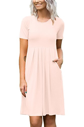 Solid Color Women Dresses - Womens Summer Basic Swing Simple Solid Color Cotton Short Sleeve Loose Pleated Plain Midi Dress with Pocket Pink M