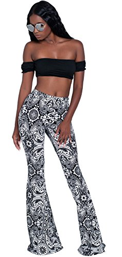 Wide Fluted Frill Ruffled Ruffle Peplum Flared Flare Hem Bell Bottom Skinny Pants Trousers Black Paisley S by Arctic Cubic
