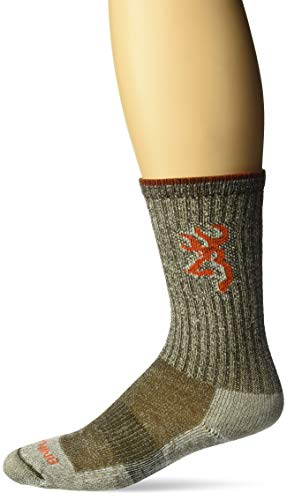 Browning Men's Year Rounder Crew Socks | Timber Brown | Medium | One Pair ()