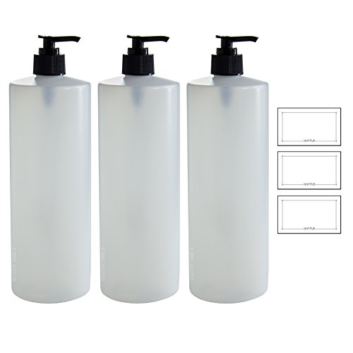 (Clear Natural Refillable Plastic Squeeze Bottle with Black Lotion Pump Dispenser 32 oz Extra Large - (3 Pack) + Labels)