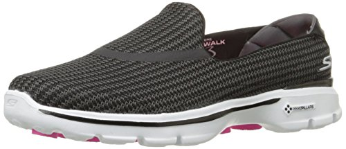 Skechers Performance Women's Go Walk 3 Slip-On Walking Shoe,Black/White,6.5 M US