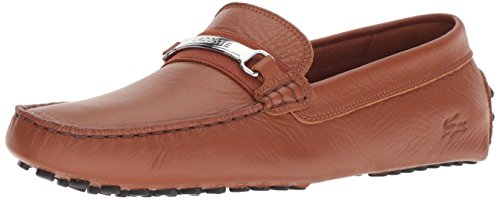 Lacoste Men's ANSTED Driving Style Loafer, tan/Black, 7 Medium US