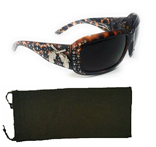 BB Gun Pistol Six Shooters Rhinestone Sunglasses Cheetah Leopard + Case (Leopard cheetah brown) ()