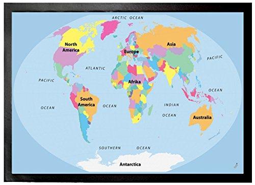 1art1 Mapas - Mapa del Mundo, En Inglés Felpudo Alfombra (70 x ...