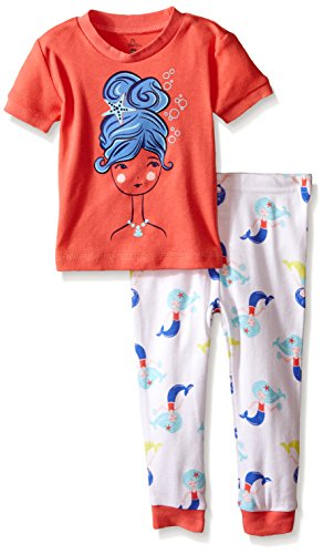 Petit Lem Girls' Baby 2 Piece Short Sleeve Top and Pant Pajama Set-Ocean Diva, Peach, 12 Months ()
