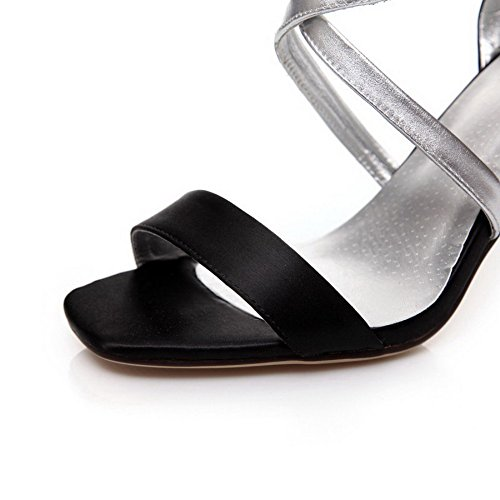 Open Black AllhqFashion Color Soft Women's Assorted Toe Buckle Material Sandals fatBaq