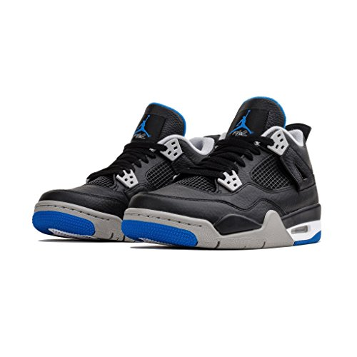 NIKE Air Jordan 4 Retro BG Motorsports Alternate Big Kid's Basketball Shoes Black/Soar/Matte Silver, 5 Absolute Silver Matte