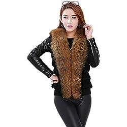 Lafee Bridal Faux Fur Waistcoat Sleeveless Jacket Coat Outerwear Vest for Women L