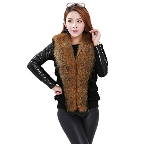 Lafee Bridal Faux Fur Waistcoat Sleeveless Jacket Coat Outerwear Vest for Women L