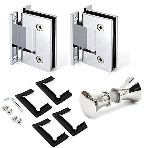 Polished 90 Degree Geneva H Type Base Wall to Glass Shower Door Hinge for 1/2
