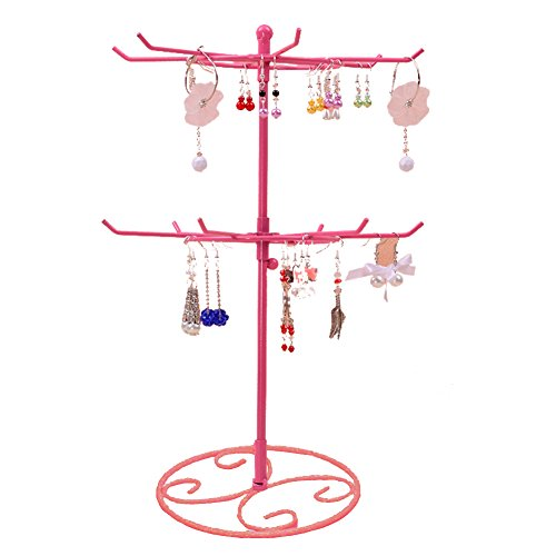 Jewelry Stand, Botitu 16.2 inch Tall Revolving Necklace Holder with 3 Tier 12 Hooks Jewelry Display for Girls and Women, for Hanging Bracelets, Hair Accessories, Earring Organizer Tree