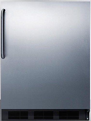 """Summit FF6BBISSTBLHD 24"""" 5.5 cu. ft. Undercounter Built-in Capable Compact Refrigerator Auto Defrost Adjustable Glass Shelves Adjustable Thermostat 100% CFC Free: Stainless Steel Left Hinge"""