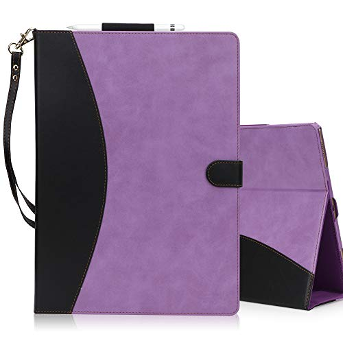 FYY [Leather Case] with [Apple Pencil Holder] for Apple iPad Pro 12.9 Both 2017/2015, Flip Folio Stand Case Protective Cover with [Auto Sleep Wake Function], Multiple Stand Angles, Card Slots Purple