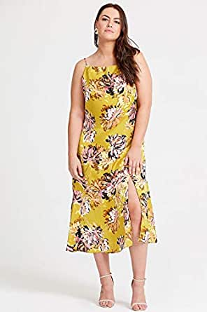 Elvi Women's Yellow Alula Floral Print Camisole Dress (AW18/02/DS54)