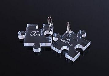 2 Schlüsselanhänger mit Gravur Puzzle Partner-Liebes-Geschenk aus ...