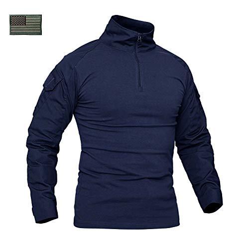 CRYSULLY Male Fall Winter Safari Shirt Fatigue Outdoors Shirt Stylish Classic Climbing Shirts Combat Shirt Navy