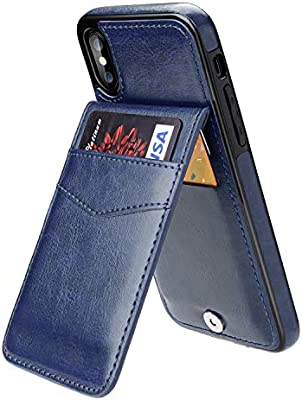 Black KIHUWEY iPhone X iPhone Xs Case Wallet with Credit Card Holder Premium Leather Magnetic Clasp Kickstand Heavy Duty Protective Cover for iPhone Xs//X 5.8 Inch
