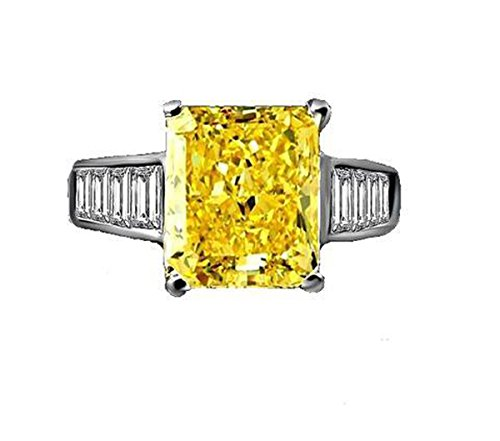 Diamond Veneer Fine 5 CT. (12x10mm) Radiant cut Sterling Silver Engagement Ring (Canary, 6) Canary Engagement Rings