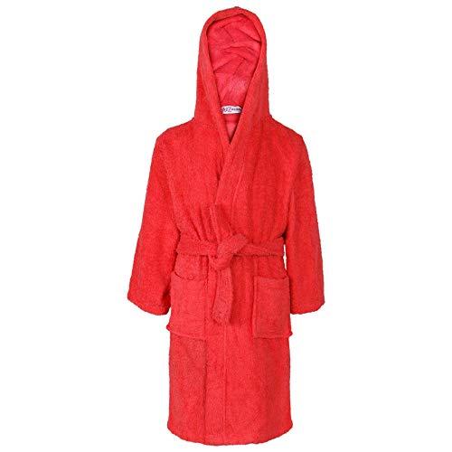 (Kids Girls Boys 100% Cotton Soft Terry Hooded - Towel Bathrobe Red 11-12)