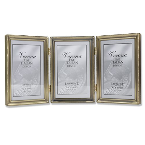 Lawrence Frames Antique Brass 4x6 Hinged Triple Picture Frame - Bead Border Design