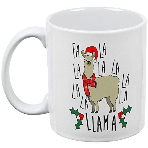 Christmas Fa la llama all over taza de café, cerámica, Blanco, talla única: Amazon.es: Hogar