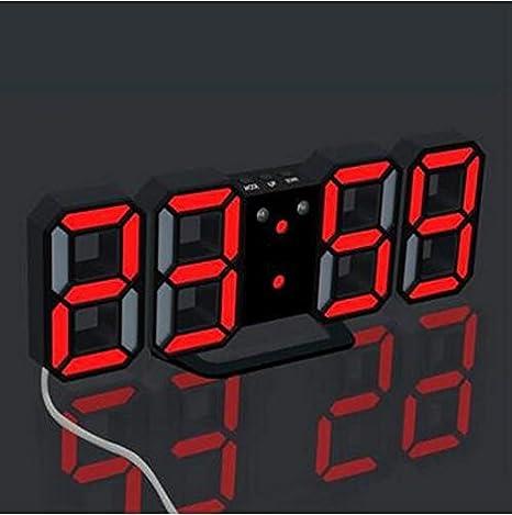 Reloj de pared decorativo reloj despertador de luz nocturna reloj digital 3D Reloj de pared LED