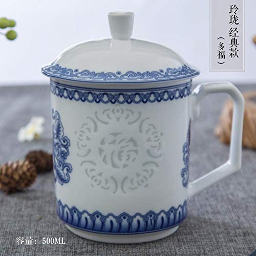 Jingdezhen Qinghua Ling Porcelain Office Household Chinese Ceramic Cup With Cup Cover-Classic Linglong-Duofu